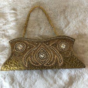 Gold Beaded Handbag